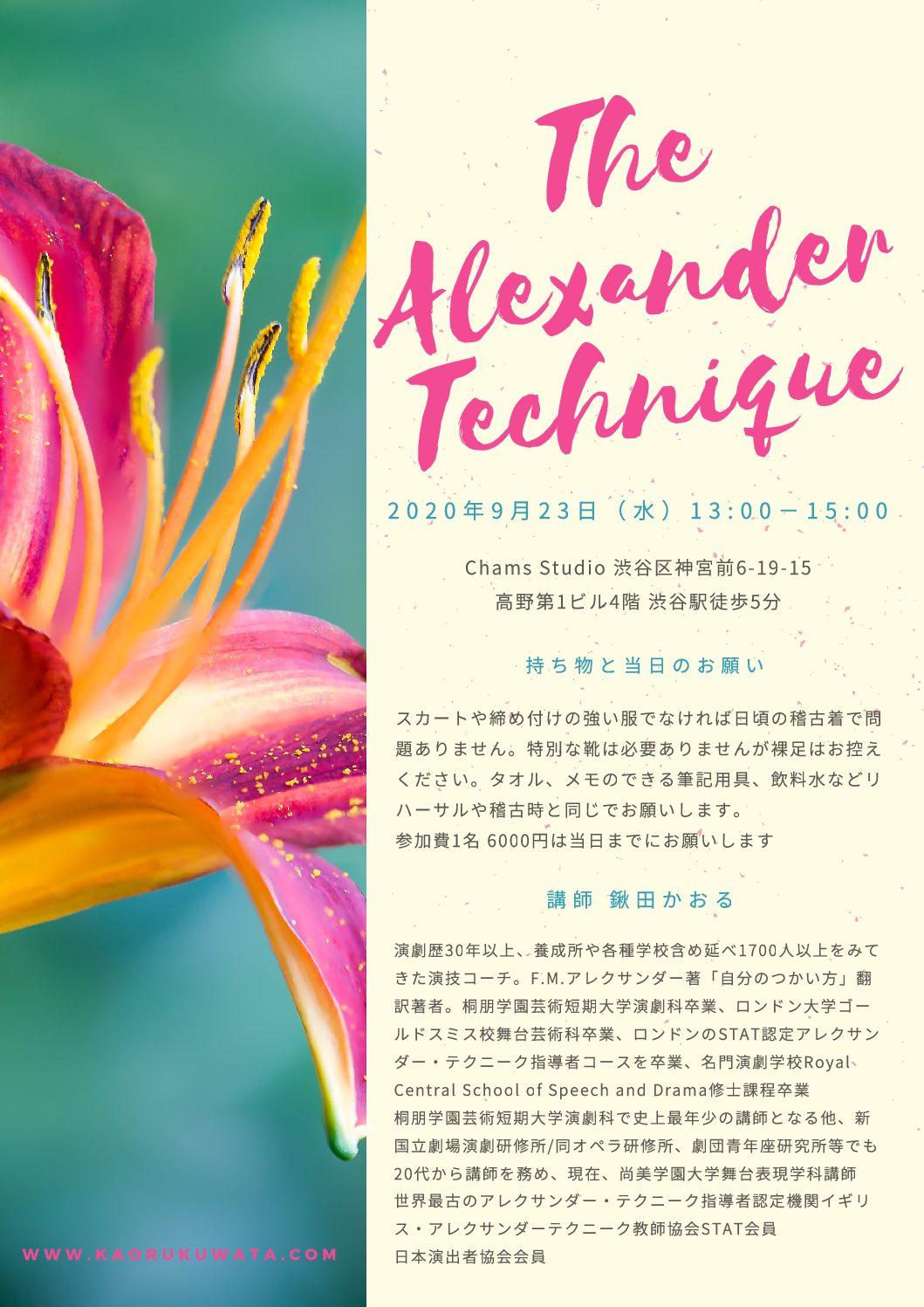 少人数で始める9月アレクサンダー・テクニーク入門1日限定